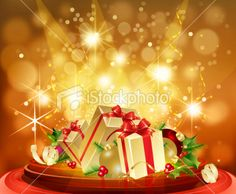 Christmas Gifts on Glassy Table