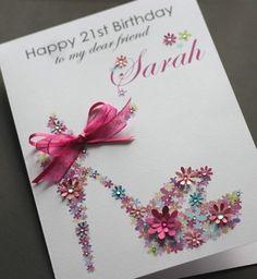 LARGE A5 Handmade Personalised FLORAL SHOE Birthday Card sister, friend, mum | eBay