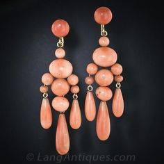 Antique Dangle Coral Earrings