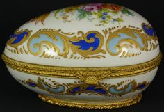 SEVRES FRENCH PORCELAIN AND BRONZE EGG BOX