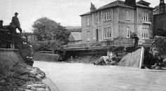 Old photograph of Gogo bridge over Gogo Water after the floods in 1910 in Largs in Ayrshire , Scotland . All photographs are copyright . Old Photographs, Ancestry, Scotland, Tours, Explore, Water, Bridge, Painting, Outdoor