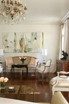 abstract art, so nice with vintage pieces .... the wood floors are great                                                                                                                                                                                 More