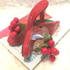 Rare Vintage 70s Kimel California Cherry Platform Sandals Clear Heels Collectors #Kimel #Sandals