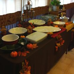 Buffet table layout for Thanksgiving dinner.