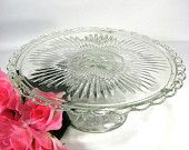 40% OFF Cake Plate Large Fancy Glass Pedestal Serving Plate Upcycled Cupcake Footed Platter