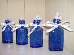 Vintage Cobalt Blue Bottles Decorated for by YaYasBottleShop, $25.00