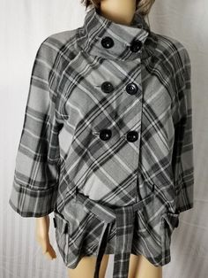 APT 9 Double Breasted Trench Coat Jacket Sz Lg Gray Plaid Belted Funnel Collar #Apt9 #Trench
