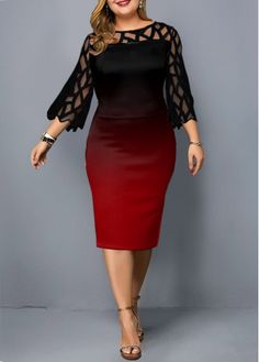 Plus Size Dress Lace Patchwork Dress Sleeve Dress Sheath Dress Short Dress Plus Size Lace Patchwork Three Quarter Sleeve Dress Plus Size Cocktail Dresses, Plus Size Dresses, Plus Size Outfits, Short Dresses, Trendy Dresses, Cheap Dresses, Necklines For Dresses, Dresses With Sleeves, Chiffon Cardigan