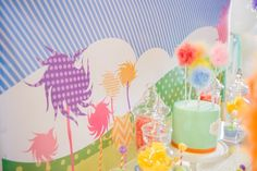 birthday backdrop kids party lorax girls bday cake truffula tree pink yellow green purple blue fluff feathers buffet lolly candy