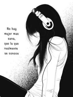 Una chica con audífonos, mensaje, 8 de marzo