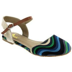 Machi FAITH-10 Women's Closed Toe Buckle Ankle Strap Multi Color Sandal Flats