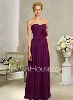 Bridesmaid Dresses - $115.99 - Brilliant A-Line/Princess Sweetheart Floor-Length Chiffon Charmeuse Bridesmaid Dress With Ruffle (007004311) http://jenjenhouse.com/pinterest-g4311