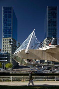 Basque Country, Bizkaia, Bilbao, Isozaki Towers & Zubizuri Bridge