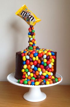 Giles birthday cake. MM illusion gravity cake.