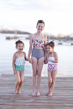 The CUTEST high waist bathing suits for girl's! www.whimsytails.com