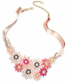 c.A.K.e by Ali Khan Gold-Tone Beaded Flower and Ribbon Bib Necklace