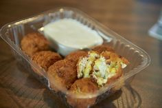 Cowboy Bites, Frontier Bar, $6, Sweet corn kernels, bacon, jalapeños, and cream cheese blended into bite-sized balls, breaded and fried, and served with ranch dipping sauce. Deep-fried batter as the substrait for anything beneath is cliche and a little weary. These live up to nothing more than that, but if you long for the deep fried ball of whatevertheheck, then this is your nirvana. A lake of bottled ranch arrives on the side for dippin', natch. Tony Nelson