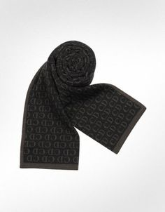 ShopStyle: Christian DiorAll Over Logo Knit Wool Scarf