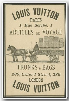 A look back at Louis Vuitton. Poster of the former Louis Vuitton Factory, 1 rue Scribe, Paris IX (Opera District) Vintage Louis Vuitton, Louis Vuitton Paris, Louis Vuitton Trunk, Louis Vuitton Handbags, Lv Handbags, Pub Vintage, Vintage Labels, Vintage Ephemera, Vintage Signs