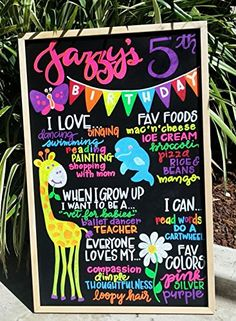 Beautiful Chalkboard sign created with VersaChalk markers! Love the colors!