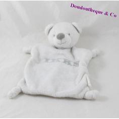 Doudou plat ours IKKS blanc écriture grise 22 cm Teddy Bear, Animals, Gray, Plush, Dish, Animais, Animales, Animaux, Animal