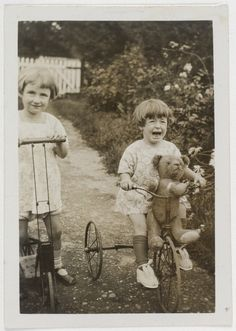 Author Elizabeth Jolley and (younger) sister Madelaine Winifred in the garden, 1927