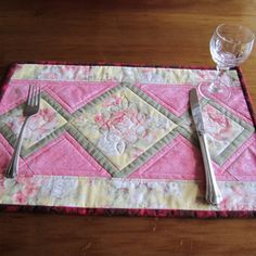 Placemats with Pink Roses Fabric Placemats, Place Mats Quilted, Green Table, Tablerunners, Scroll Design, Love Rose, Mug Rugs, Green Fabric, Kitchen Items