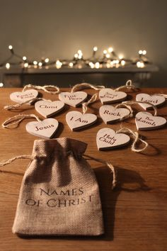 Names of Christ Tree Ornaments The hustle and bustle of Christmas can bring us great excitement and happiness, but also can be a little manic and distracting from the lovely Christmas Nativity story. We feel it is important to bear in mind the real meaning of Christmas and remember what Christmas truly celebrates! With these wooden heart shaped 'Names of Christ Tree Ornaments' Christ in our minds this Christmas season.