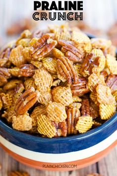 Praline Crunch - highly addictive!! SOOOO good! Sweet and Salty in every bite! Crispix cereal, pecans, brown sugar, corn syrup, butter, vanilla, baking soda. Can make ahead of time and store in an air-tight container. Great for a party or homemade gift! #chexmix #snack #partyfood #pecans Easy Snacks, Yummy Snacks, Healthy Snacks, Sweet And Salty Snack Mix Recipe, Christmas Snack Mix, Christmas Treats, Fall Treats, Christmas Goodies, Christmas Candy