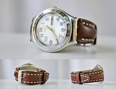 Swatch Irony Cognac Calfskin Custom Handmade & hand sewn, More colors and Sizes available on Order by ChristianStraps on Etsy Hand Sewn, Omega Watch, Swatch, Sewing, Nice, Colors, Leather, Handmade, Etsy