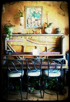 Breakfast bar I made from a repurposed upright piano.