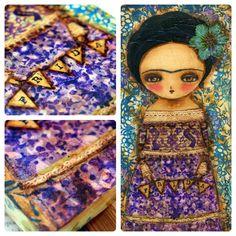 Frida In Purple  Original Mixed Media Collage by DanitaArt on Etsy