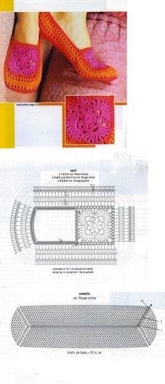 Zapatillas (shoes/slippers) crochet pattern diagram