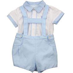 Mayoral White Shirt & Blue Shorts With Braces - DesignerChildrenswear.com