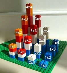 There are various ways to make a Multiplication Tower. This site shows examples using beads, Legos, and Minecraft! There are various ways to make a Multiplication Tower. This site shows examples using beads, Legos, and Minecraft! Math For Kids, Fun Math, Math Games, Math Activities, Counting Games, Math Art, Math Manipulatives, Math Multiplication, World Maths Day