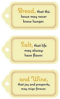 Great housewarming or hostess gift tag set - Salt in a pretty jar, homemade bread and yummy wine...