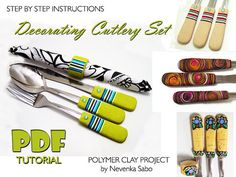 Polymer clay tutorial PDF tutorial by ArtStudioKatherine on Etsy Polymer Clay Projects, Clay Crafts, Polymer Clay Jewelry, Diy Bracelets To Sell, Diy Crafts Jewelry, Do It Yourself Crafts, Cutlery Set, Easy Crafts For Kids, Clay Tutorials
