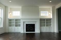 cabinets next to fireplace