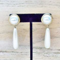 In my #etsy shop: Vintage Earrings Faux Pearls Pierced Posts Wedding Jewelry Jewellery Party Prom Gift for Her http://etsy.me/2ninUsk #jewelry #earrings #white #goldsettings #vintageearrings #vintageplasticpearls #beachweddingjewelry