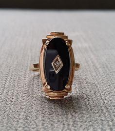 Antique Black Onyx Diamond Ring Filigree flower por PenelliBelle