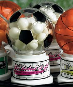 """SOCCER THEME MINIATURE SPORTS GUMBALL MACHINE  $6.55  Miniature Soccer Sports Theme Gumball Machine Wedding Favour  This Soccer themed miniature Gumball Machine will score high among your guests. Turn the dial and be rewarded with an authentic Dubble Bubble every time. Your guests are guaranteed to get a """"kick"""" out of this favour! Use for weddings, sports celebrations, or birthday parties. Gumballs are approximately 1/4"""","""