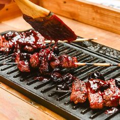 Fresh cherries, barbecue, and food on a stick are the epitome of summer. We've got a recipe that incorporates all 3 of these summertime emblems with the link in bio. We also bring you a new recipe each & every damn day on @TraegerRecipes. If your mouth is