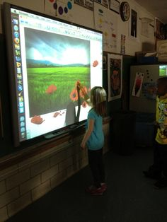 using the smart board to brainstorm and arrange a landscape