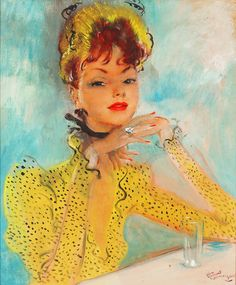 Femme à la Robe Jaune ((Lady in a Yellow Dress) by Jean-Gabriel Domergue ~ Oil on Board, French Artist, France, Portrait Painting, Aristocratic Figures, Bold Colors, Vibrant, La Belle Parisienne, French Fashion ~ M.S. Rau Antiques