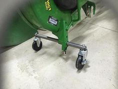 I saw the mower deck wheels and axles kit you can buy but wanted castering wheels to make it easier to move around and put it right where you want it. Compact Tractor Attachments, Snow Blades, John Deere Mowers, Tractor Accessories, Deck Storage, Trailer Tires, John Deere Equipment, Tractor Implements, Compact Tractors