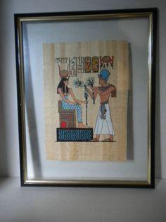 Framed EGYPTIAN Papyrus Picture in Float Frame Egypt King TUT NEFERTITI ? Rare