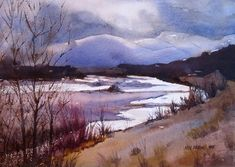 Snake River Looking South, watercolor by Kris Parins