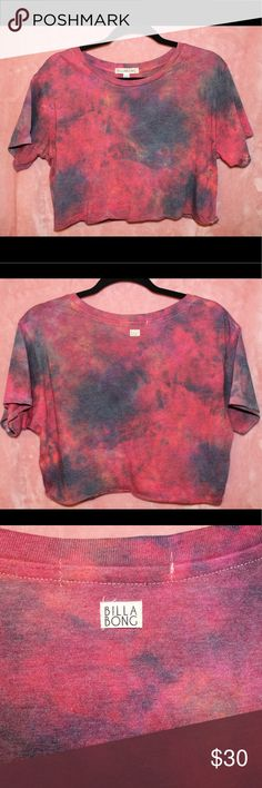 Billabong tie-dye crop top Super cute and UNIQUE pink and blue billabong crop T-shirt!! I only wore it once and it's in flawless condition! Selling just because it's not really my style anymore. Would be great for festivals, beach days, or just to wear around town :) Billabong Tops Crop Tops