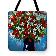 Flower arrangement bouquet Tote Bag Customize the look of your Tote Bag. Available sizes in inches: 13 x 13, 16 x 16 & 18 x 18.  #artinfashion #totebag #fashion #floralart