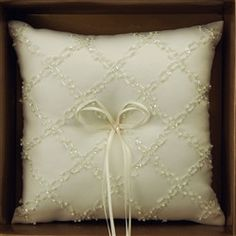 Ring Bearer Satin Pillows Wedding Occassion, 8-inch, Beads Checkered, Ivory, CLOSEOUT